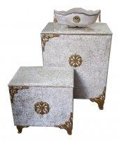 çamaşır Sepeti Takımı 3 Parça Set Cappucino Renk...