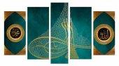 5 Parça Allah Muhammed Yazılı Tuğra Tasarım Kanvas Tablo