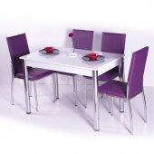 Desenli Renkli Mutfak Masası Takımı Sandalye Renkli
