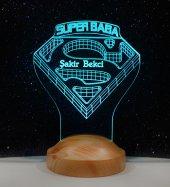 3d Led Lamba 3 Boyutlu Süper Baba Kişiye Özel Hediye Gecelambası