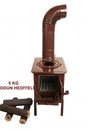 Mini Emaye Kuzine Odun Sobası 5 Kg Pres Şömine Odunu Hediyeli