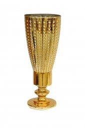 Dekoratif Cam Altın Sarı Renk Kaplama Vazo (36x14)cm