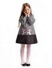 Denokids İkiz Tavşan Ekose Kız Çocuk Elbise
