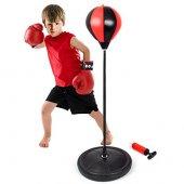 çocuk Boks Standı 90 120 Cm Refleks Topu Boks Seti Eldiven Hediye