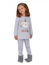 Rolypoly Kız Garson Çocuk Kombin Gri Pijama Takımı 1368