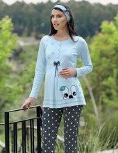 şahinler Terlik Hediyeli Lohusa Pijama Takımı Mavi Mbp23724 2