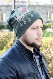 Osmanlı Armalı Yeşil Renk Erkek Bere