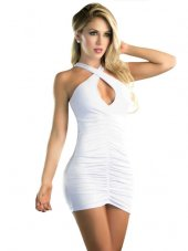 51aba9bb8fe80 Bant Göğüs Dekolte Japon Gece Elbise Beyaz - ePttAVM