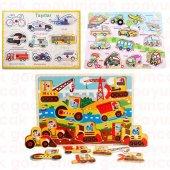 Okul Öncesi Bultak Puzzle Oyuncak Eğitici Ahşap Tutmalı 3 İn 1 Set Araçlar Taşıtlar Çivili Puzzle