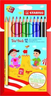 Stabilo Trio Thick 12 Renk Set + Kalemtıraş Hartung
