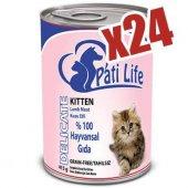 Pati Life Kuzu Etli Konserve Yaş Yavru Kedi Maması 24 Adet 415 Gr