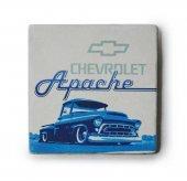 1956 Chevrolet Apache Baskılı Doğal Limra Taşı Bardak Altlığı