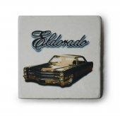 1966 Cadillac Eldorado Siyah Baskılı Doğal Limra Taşı Bardak Altlığı