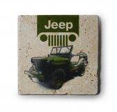 Jeep Logo Resim Baskılı Doğal Traverten Bardak Altlığı