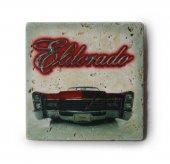 1966 Cadillac Eldorado Kırmızı Baskılı Doğal Traverten Bardak Altlığı