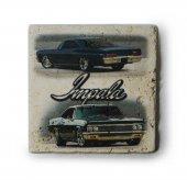 1966 Chevrolet Impala Baskılı Doğal Traverten Bardak Altlığı