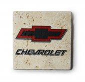 Chevrolet Logolu Doğal Traverten Bardak Altlığı