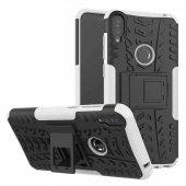 Asus Zenfone Max Pro Zb602kl Olix Zırhlı Hibrit Kılıf Standlı Parmak Tutuculu Silikon Kapak Beyaz