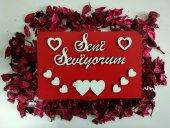 Sevgililer Günü Dikdörtgen Ahşap Yazılı Hediye Kutusu Gül Kurusu