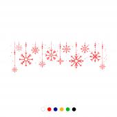 Yılbaşı Süslemeleri Asılmış Halde Kar Taneleri Sticker 200x70 Cm