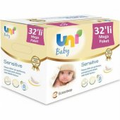 Uni Baby Sensitive Kapaklı Islak Mendil Havlu 32 Paket 1792 Yapra