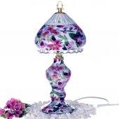 Porselen Yuvarlak Şapkalı Abajur Orkide