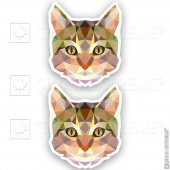 Polygonal Üçgen Tasarımlı Kedi 2li Set Sticker Çınarextreme