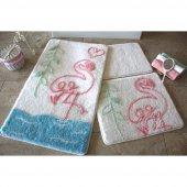 Chilai Home Flamingo Beyaz 3 Lü Banyo Paspas Takım...