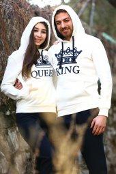 Sevgili Kombinleri Beyaz Kıng Queen Kapüşonlu Kanguru Cepli
