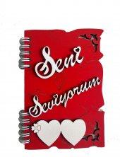 Seni Seviyorum Yazılı Mdf Kesim Not Defteri Sevgiliye Hediye