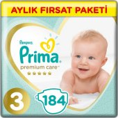 Prima Bebek Bezi Premium Care 3 Beden Midi Aylık Fırsat Paketi 184 Adet