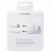 Samsung Hızlı Şarj Cihazı + Usb Type C Kablo Beyaz Note 4