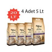 Mycat (5 Lt) 4 Adet Bentonit Kedi Kumu Pudra Kokulu(Kalın Taneli)