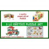 Eğitici Oyuncak 3 İn 1 Zeka Set Kitap Puzzle Düğmeli Hayvan Puzzle Kırmızı Ev Ahşap Puzzle Oyun Seti