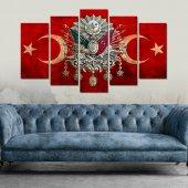 Osmanlı Arma Kırmızı Hilal Dekoratif 5 Parça Mdf Tablo