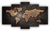 Dünya Haritası Dekoratif 5 Parça Mdf Tablo
