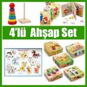 Eğitici Oyuncak Zeka Oyunları 4 İn 1 Set Hayvan Bultak Renkli Kule Kitap Puzzle 9 Parça Renkli Puzle