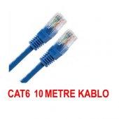 Cat6 Kablosu Ethernet 10 Metre İnternet Modem Lan Rj45 Uçları Çak