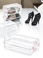 Bayan Ayakkabı Saklama Kutusu Kilitli Ayakkabı Kutusu 33x20x11 Cm