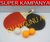 2 Li Masa Tenisi Raketi Seti & 3 Adet Tenis Topu