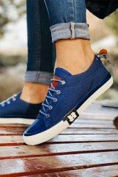 Unısex Cift Kombini Mavi Keten Günlük Spor Ayakkabı