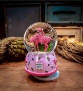 Tropical Love Flamingolar Müzikli Kar Küresi Orta Boy