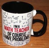 Matematik Öğretmeni Baskılı İçi Ve Kulpu Renkli Porselen Kupa