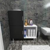 Moonlife 2 Kapaklı L Çok Amaçlı Banyo Dolabı Siyah