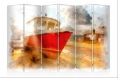 Balıkçı Kayığı Kanvas 6 Kanat Paravan