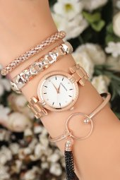 Rose Renk Metal Kordonlu Beyaz İç Renk Tasarımlı Kasa Bayan Saat Ve Bileklik Kombini