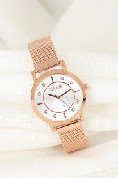 Rose Renk Kaplama Hasır Metal Kordonlu Beyaz İç Tasarımlı Metal Kasa Clariss Marka Bayan Saat