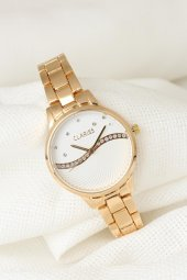 Gold Renk Metal Kordonlu Beyaz Renk Zirkon Taşlı İç Tasarımlı Clariss Marka Bayan Kol Saati