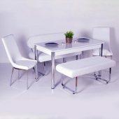 Evform Oval Banklı Masa Takımı Mutfak Masa Sandalye Takımı Beyaz