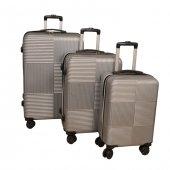 Poli Karbon Set 3 Boy Çanta Çekmeli Valiz Bavul Ça...